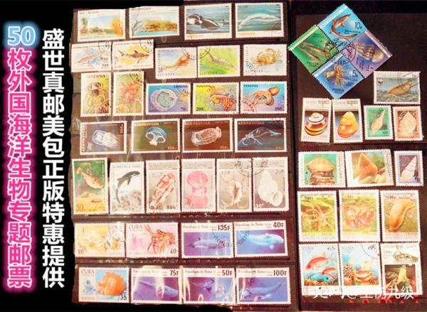 50枚外国海洋生物类邮票,票面精美,无重复!请注意图片及说明