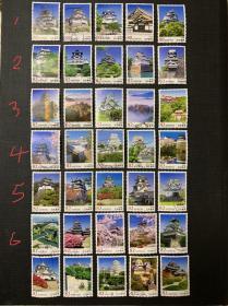 日本信销邮票【日本的城】系列。全6集35枚全 日本城堡
