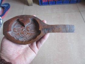 老模具老印模民国手工雕刻包浆双字寿桃图糕点面食品印模精品卡子