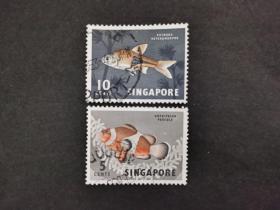 新加坡邮票(动物):1962动物与花朵 2枚
