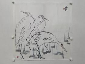 """保真书画,佚名花鸟画一幅,尺寸66×67cm(左下部盖章""""禅门""""不知道是哪位世外高人所作),纸本托片。"""