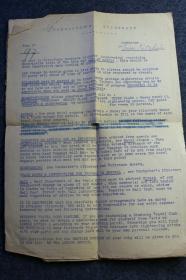 1931年法国巴黎、比利时布鲁塞尔旅行计划书,路书,团队旅行安排事项文件一组。 展开后大约尺寸为A4纸大小,共计4.5页,纸上重温一场90年前的观光游览方方面面。