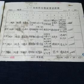 1982年浙江省富阳县湘主公社湘岭、文河、甘坑、炉头大队山林所有权证登记清册
