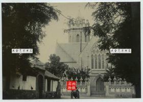 清代山东烟台被誉为近代建筑之冠的天主教烟台教区主教府教堂街道老照片