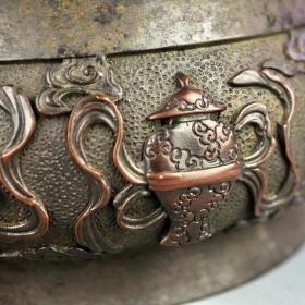 明 紫铜八宝兽耳大号香炉