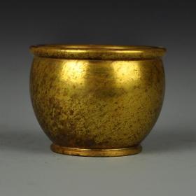 紫铜鎏金宣字罐