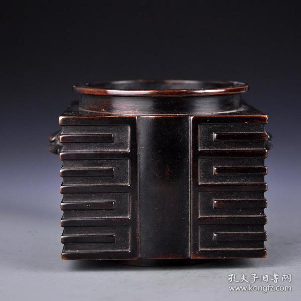 紫銅四方獸耳香爐