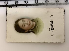 六七十年代老照片 手工上色 辫子美女