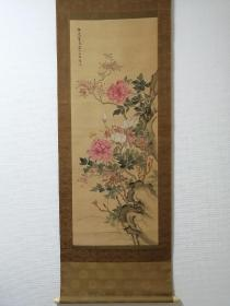 山本梅逸 富贵花蝶图  手绘 古画 回流字画 日本回流