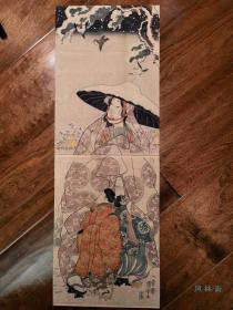 歌川国芳《常盤御前》竖二枚续 博物馆级珍品浮世绘 源赖朝之母
