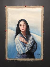 古玩收藏 手绘油画 画家:艾轩 人物画