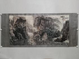 保真书画,王梦湖先生1988年创作四尺整纸山水画《三峡晨》一幅,原装裱镜心。