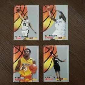 当代体育球星卡·NBA球星:科比·布莱恩特 特雷西·麦克格雷迪 阿伦·艾弗森 蒂姆·邓肯(4张合售)
