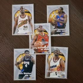 当代体育球星卡·NBA球星:克里斯·韦伯 安芬尼·哈达威 加里·佩顿 拉特里尔·斯普瑞维尔 杰里·斯塔克豪斯(5张合售)