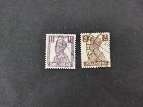印度邮票(人物):1941 -1943乔治六世国王(1895-1952)2枚