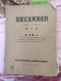 暴雨径流观测资料(1957-1967年第三册常家沟实验站)
