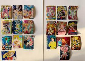 美少女战士闪卡 20张合售 不拆。全部贴过,背面是纸。80后童年回忆系列。祖国闪老卡。 每张多少都有些小瑕疵,亲们放大看就好。 售出不退换。