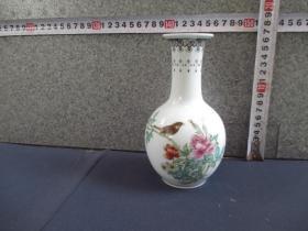 出口创汇期精品:景德镇制手绘牡丹小鸟天球瓶
