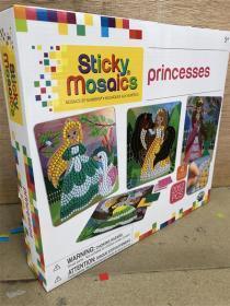 尾单盒装 专注力公主贴纸书  The Orb Factory Sticky Mosaics Princess Arts & Crafts, Peach/Pink/Teal/Purple,  公主工艺品,桃子/粉红/蓝绿色/紫色