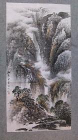 杨老师 国画山水四尺整纸 画心 原稿手绘真迹