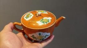 包老保真 晚清民国珊瑚釉粉彩花卉纹开窗参汤壶茶壶全品