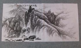 杨老 国画山水龙抬头 四尺整纸 画心 原稿手绘真迹