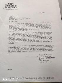 匹兹堡城市剧院导演;MARC  MASTERSON---来华演出  想要拜访英若诚参观北京人艺 信札一通  附实寄封