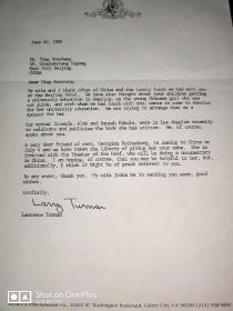 米高梅知名电影制作人Lawrence   Turman   致英若诚信札一通介绍朋友来中国拍默剧纪录片之事