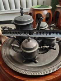 民国咖啡壶、银壶、造型精美、雕工大气、皇宫贵族用品、非常值得收藏。13-15.cm盘25cm