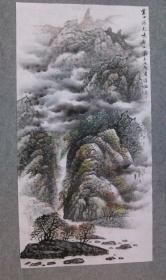杨老 精品山水画 乐山金口河大峡谷 四尺整纸 原稿手绘真迹