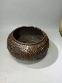 元明清精工雕刻萧史乘龙、弄玉乘凤成仙图老铜水缸