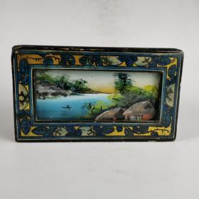 民国漆器首饰盒带玻璃画小盒子