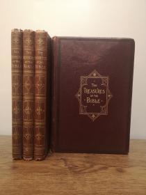 19世纪下半叶 The Treasures of The Bible 四卷全。讲述多个和经典相关的主题。27幅高质量的整页钢版画。三面书口刷金。开本27.5cmX19cm