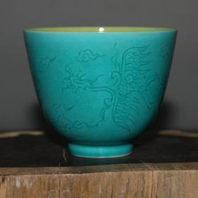精品明孔雀蓝釉内黄釉薄胎凤凰杯