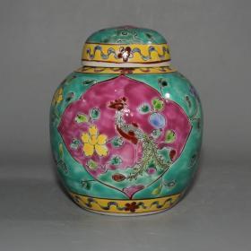 粉彩凤凰花卉罐