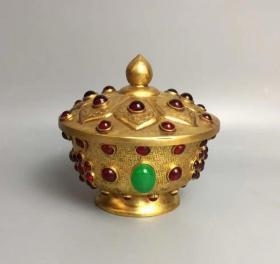 清代铜鎏金镶宝石盖碗524克wlb