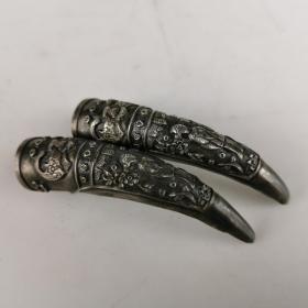 清代老银护指一对手工錾刻老银器保护指甲首饰佩饰民俗怀旧老物件