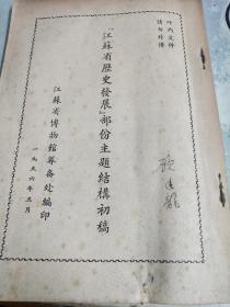 著名版本目录学家顾廷龙批字本<江苏省历史发展部分主题结构初稿﹥1956年版