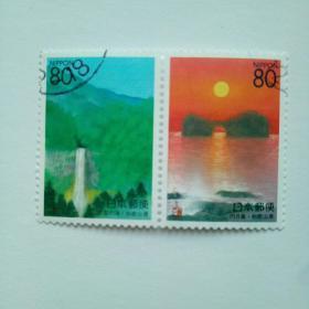 日邮·日本地方邮票信销·樱花目录编号R306-R307 1999 和歌山旅游:那智瀑布.日月岛 2全连票