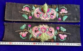 特价处理民国绣工精美漂亮蝙蝠花卉图刺绣绣片一对包老