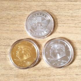 美国总统特朗普金银币纪念币纪念章3枚合售