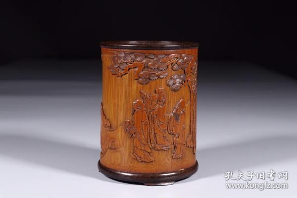 清代:竹雕福禄寿笔筒