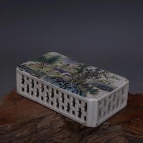 长方形粉彩山水镂空镇纸  文房用品  家居艺术风水摆件