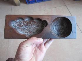 老模具清代民国手工雕刻包浆好莲子喜饼图糕点面食品印模精品厚重