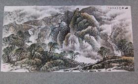四川老画家 杨老师 国画山水 四尺整纸画心原稿手绘真迹