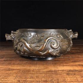 铜双龙香炉