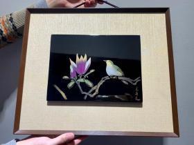 名家手工雕刻绘画,花鸟实木大漆
