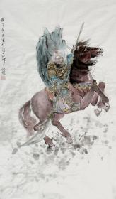 【保真】沈琼(伽净),江苏省花鸟画研究会会员。五台山皈依居士。人物画《关公千里走单骑》《关公神威》(50×100cm)