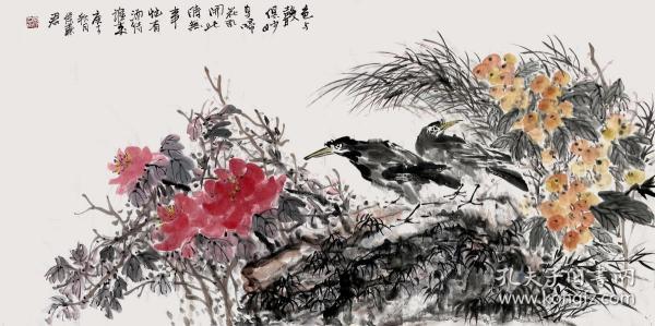 【没有仿品没有印刷品 全部保真】【侯秦君】中国美术学会会员、陕西省美协会员。四尺整张横幅写意花鸟画2牡丹枇杷《色与声俱妙》(136×68CM)