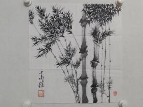 保真书画,高椿《墨竹》国画小品一幅,尺寸46×43cm